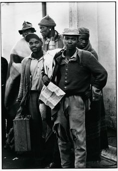 Ernest Cole – Pensive tribesmen, newly recruited to mine labour, awaiting processing and assignment South Africa African American Slavery, African Americans, Native American, Social Photography, Hipster Looks, Apartheid, African History, African Men, African Fashion