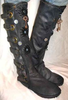 Leather Steampunk Boots Renaissance Moccasins Pirate by dleather, $699.95