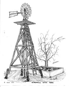Metal Windmill with wooden tower and concrete water tank.