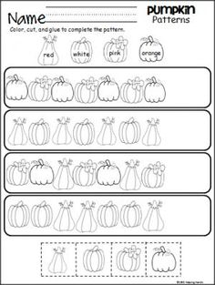 Pumpkin Patterns Worksheet for PreK and Kindergarten.  Perfect for fall and October.