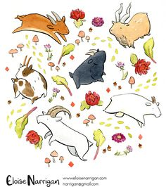 EloiseDraws — Some slightly bigger paintings! I painted a few of. Animal Sketches, Animal Drawings, Cartoon Drawings, Cute Drawings, Character Art, Character Design, Creature Drawings, Copics, Creature Design