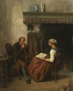 La Lecture. Jules Breton (French, 1827-1906). Oil on canvas laid down on board. La lecture depicts an older man sitting in an armchair, chin resting on his walking stick as he dutifully listens to a...