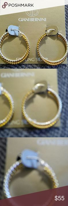 GIANNI BERNINI TWISTED DBL TWO TONE HOOPS Genuine sterling silver stamped twisted gold and silver earrings. 18kgp over Sterling Silver stamped Giani Bernini Jewelry Earrings