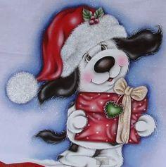 Quem bem me conhece sabe que eu adoro cachorrinhos! Não podia então deixar de postar um Cachorrinho Natalino! No site abaixo tem a pintura, risco e passo a passo.