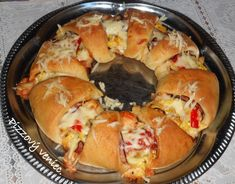 Pizzový veniec so šunkou (fotorecept) - obrázok 10 Shrimp, Pizza, Food, Basket, Essen, Meals, Yemek, Eten