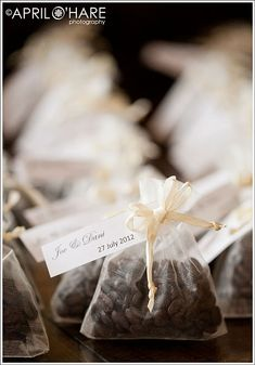 Coffee Bean Wedding Favor in Organza Bags...would have to do something different for the LDS folks...maybe some candy or something