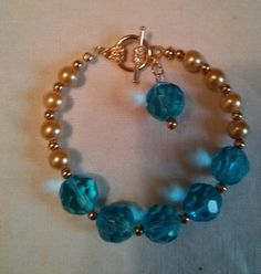 Blue Glass and Gold Pearl Bracelet by treasuresbycathy on Etsy Aqua Glass, Gold Glass, Pearl Bracelet, Beaded Necklace, Gold Pearl, Bridesmaid Gifts, Swarovski Crystals, Glass Beads, Gemstones