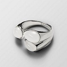White Sea Glass Silver-Tone Ring