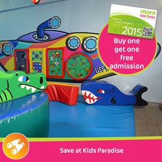 Save with 2 for 1 entry at Kids Paradise in Launceston  see more, live more, save more in Tasmania with a moretas4less discount card  For only $37 this little card can save you big dollars