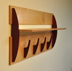 Modern Wall Shelf with 4 Hooks in Baltic Birch and Cherry