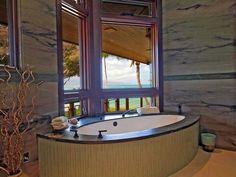 tub in corner shower in oppsite