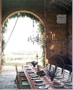 chandelier on a pulley, tall candle holders