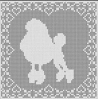 Filet Crochet Patterns - Dogs - POODLE DOG FILET CROCHET PATTERN Doily Afghan Picture