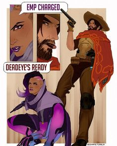 """153 Likes, 2 Comments - See Hang (@seehangart) on Instagram: """"TEAM KILL . . . . . #mcsombra #sombra #jessemccree #drawing #overwatch #sketch #illustration…"""""""