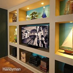 <p>construct a dramatic built-in bookcase and entertainment center with these simple plans. all you need is some inexpensive lumber and drywall.</p>
