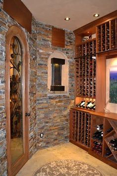 A great wine cellar door with mahogany, glass, and iron, like this ETO door, can add so much beauty to your home. You could easily turn a spare closet into a small wine cellar with the right touches.