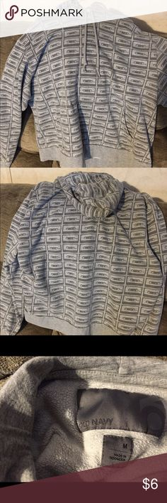 Check this out! Old Navy boys M w/tape pattern. Boys Old Navy size M retro cassette tape pattern in dark gray and light gray. Old Navy Shirts & Tops Sweatshirts & Hoodies