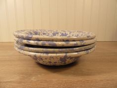 Four Bennington Pottery (Vermont) sponge ware bowls- Morning Glory colors for one price by HeathersCollectibles on Etsy