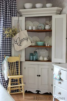 Paint idea for the corner hutch we have. Corner Hutch / Cabinet - Hymns and Verses Country Decor, Farmhouse Decor, Farmhouse Style, Farmhouse Kitchen Curtains, Country Blue, Corner Hutch, Corner Cabinet Dining Room, Corner Cupboard, White Corner Cabinet