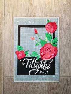kort med stempelsættet Tillykke med blomster af NHH Design