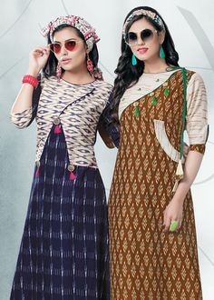 Ideas embroidery names awesome Kurta Designs Women, Salwar Designs, Kurti Designs Party Wear, Printed Kurti Designs, Kurti With Jacket, Ikkat Dresses, Fancy Kurti, Dress Neck Designs, Blouse Designs