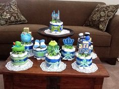 Little Prince Baby Shower Diaper Cakes by bearbottomdiapercakes
