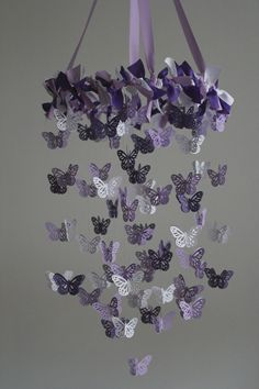 Butterfly Nursery Mobile  Purple Mobile by mauilustre on Etsy, $50.00