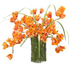 Natural+Decorations,+Inc.+-+Orchid+Cymbidium+Rust+Bamboo+Glass+Cylinder