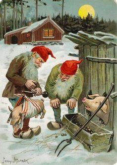 Fint julkort - grisen vägs. Av Jenny Nyström.
