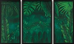 Earthing Panel - 140 x Framed 3 piece Canvas set Rainforest inspired Earthing Collection by Lisa Pollock Metal Garden Art, Bar Signs, Beach House Decor, Soy Candles, 3 Piece, Lisa, Earth, Paintings, Inspired