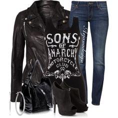 Biker Chick/Sons of Anarchy Cute Fashion, Fashion Outfits, Womens Fashion, Denim Fashion, Trendy Fashion, Mode Rock, Biker Style, Polyvore Outfits, Swagg