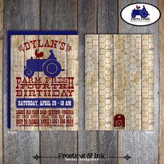 Farm Party - Barnyard Birthday Party - Invitation & Wrap Around Address Labels - Customized Printable (Tractor, Farm Animal, Vintage)