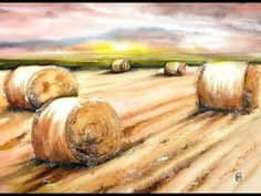 Hay Bales in Watercolors Painting Tutorial - YouTube