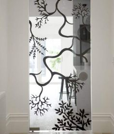 Tree branches painted on a mirror. I am so going to do this. Australian Interior Design, Interior Design Awards, Cool Doors, Mirror Painting, Other Rooms, Office Interiors, Door Design, Glass Panels, Inspiration