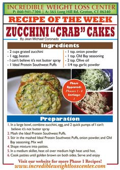 """ideal protein Zucchini """"Crab"""" Cakes"""