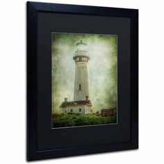 Trademark Fine Art Pigeon Point Light Station Canvas Art by Erik Brede, Black Matte, Black Frame, Size: 16 x 20