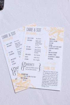 Programs with a pop of color #weddingideasnow