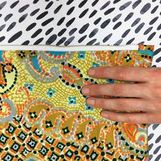 Recycled dress fabric CLUTCH PURSE in yellow, orange, black white and turquoise, in a pattern that i call ABSTRACT MOSAIC. This one is listed on etsy. 1970s Dresses, Textile Jewelry, Clutch Bags, Orange, Yellow, Statement Earrings, Mosaic, Applique, Etsy Seller
