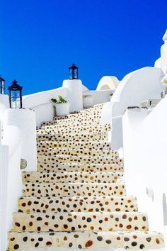Stairway to heaven Caldera Steps in Oia, Santorini, Greece. Not been but is on my wish list. These steps look like they've been made out of that ice cream with the candied fruit in it (can't remember the name). Stairway To Heaven, Places Around The World, Oh The Places You'll Go, Places To Travel, Places To Visit, Travel Destinations, Dream Vacations, Vacation Spots, Vacation Travel