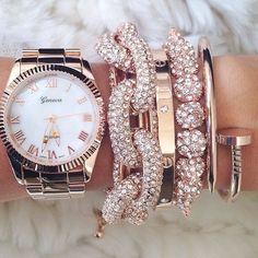 rose gold and crystal arm candy