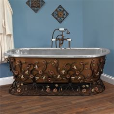 Flora Freestanding Hammered Copper Tub with Wrought Iron Stand - Nickel Interior
