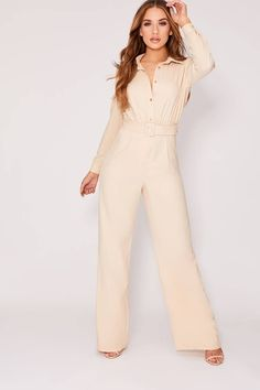 Order the Stone Belted Utility Jumpsuit from In The Style. Shop today with next day delivery available until Black Denim Dungarees, Blue Denim, Red Lace, White Lace, Spa Uniform, Off Shoulder Jumpsuit, Casual Tie, Lace Wrap, Black Laces