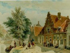 Cornelis Springer (Amsterdam 1817-1891 Hilversum) De Burgwal in Haarlem - Kunsthandel Simonis en Buunk, Ede (Nederland).