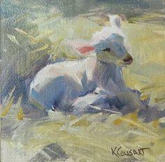 """Lamb in Light"" by Kathy Cousart, American Artist . Sheep Paintings, Animal Paintings, Animal Drawings, Art Drawings, Watercolor Animals, Watercolor Art, Illustrations, Illustration Art, Sheep Art"