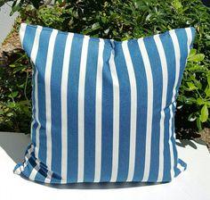 Outdoor Sunbrella Shore Regatta Stripes Fabric Nautical Marine Decorative Pillow with Zipper