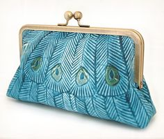 Teal peacock - A Red Ruby Rose original silk-lined clutch bag