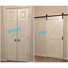We replaced our small French doors to our master bathroom with a white barn door. Totally changed up the look of room! LOVE it! Purchased the painted barn door from Lowe's!