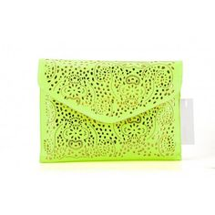 New Arrival Yellow Faux Leather Neon Hollow Flowers Envelope Summer Clutch Purse Handbag, Gift Idea