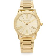Michael Kors Hartman Watch ($225) ❤ liked on Polyvore featuring jewelry, watches, accessories, bracelets, gold, gold jewelry, gold tone watches, gold jewellery, snap button jewelry and michael kors jewelry