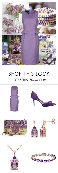 """""""Boutique Moschino Sleeveless Dress"""" by horcal ❤ liked on Polyvore featuring Boutique Moschino, Sergio Rossi, Alexander McQueen, Ice and Tiffany & Co."""